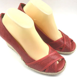 Nurture Espadrille Wedge Shoe Size 8.5 Peep Toe